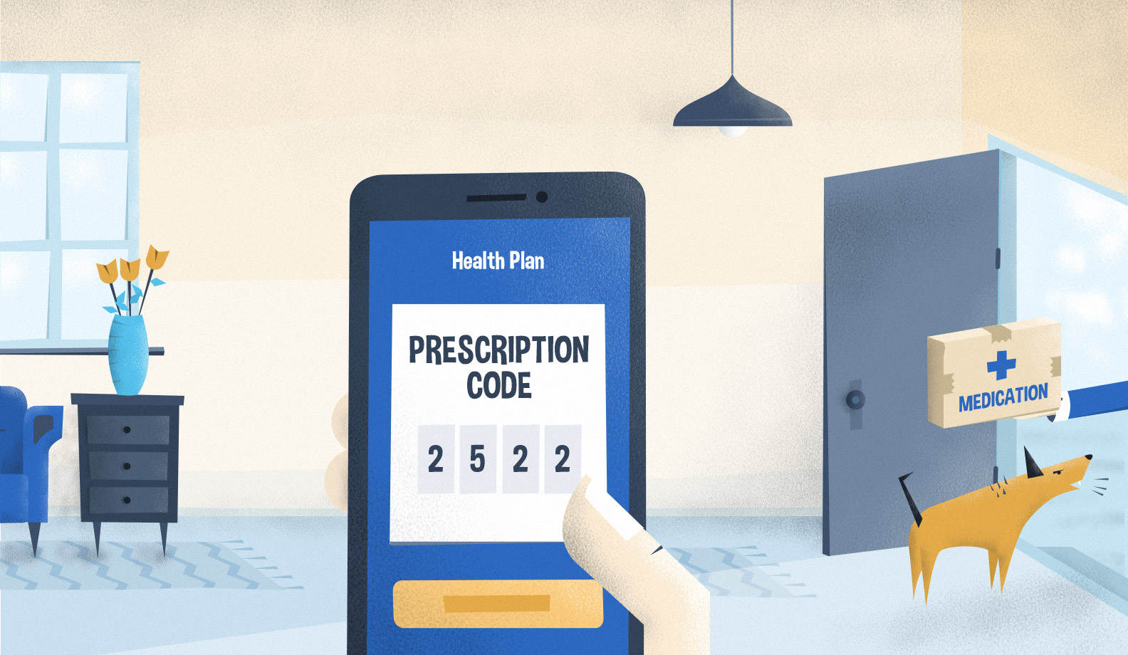 Illustration: mobile phone with exemplary prescription code
