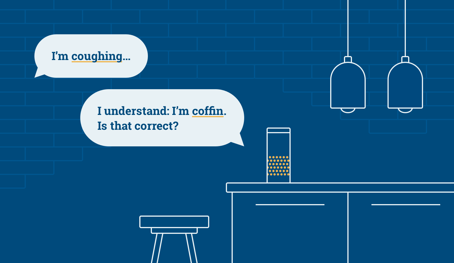 """Illustration: human: """"- I'm coughing"""", Alexa: """"- I understand: I;m coffin. Is that correct?"""""""