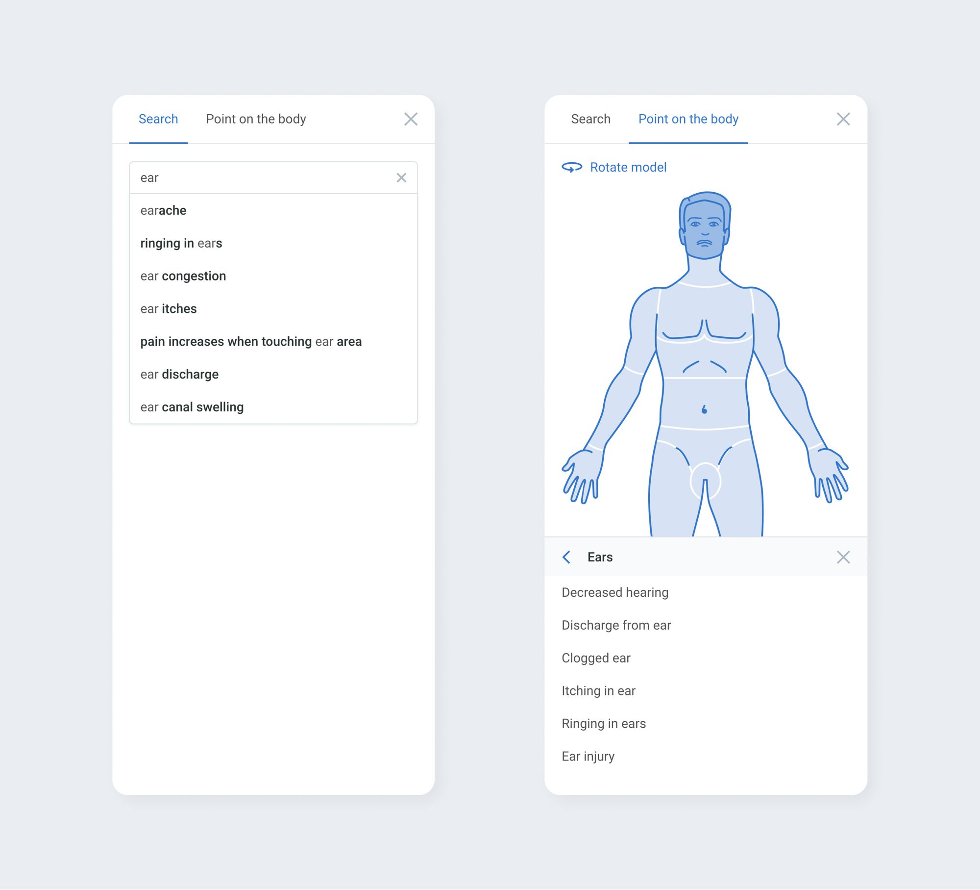Users often find it difficult to describe their symptoms. To help them, you can suggest symptoms based on typed words, or enable users to point the body model. Screens from Symptomate.