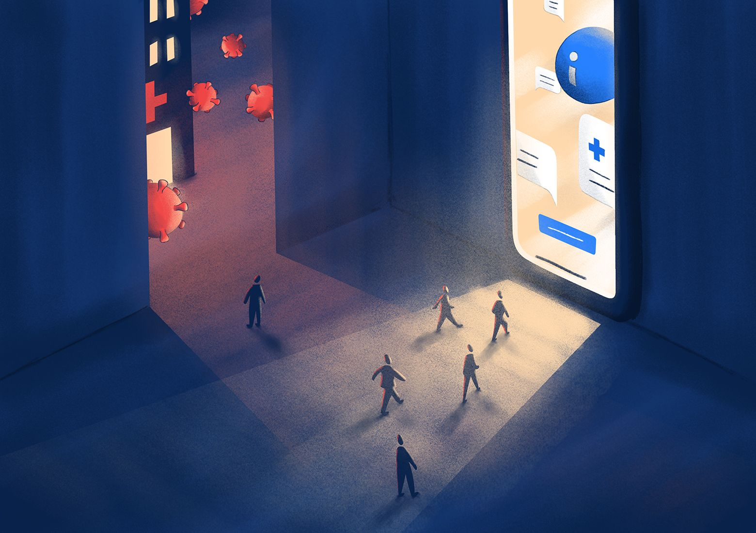 Symptom checkers become gateways to medical services. Illustration by Tomek Tuz.