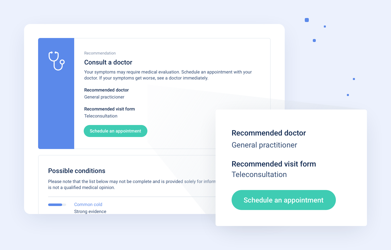 Specialist Recommender, an example of implementation as a part of the pre-diagnosis process.