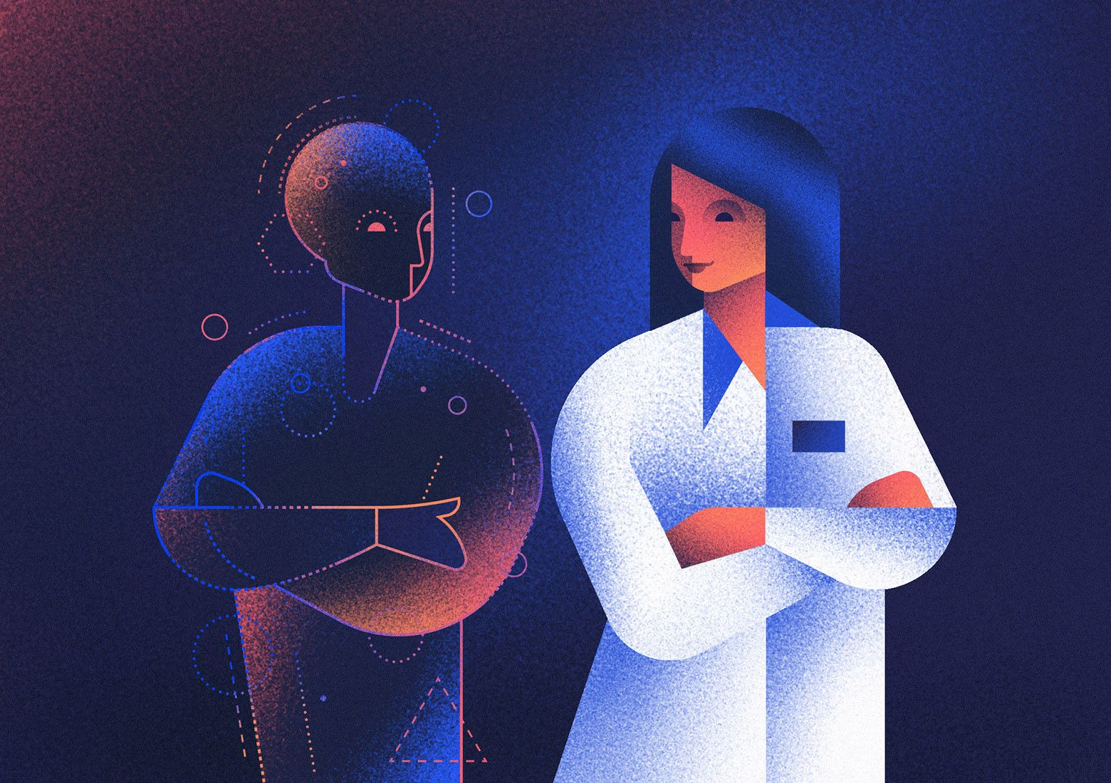 Artificial Intelligence and doctors - can we reconcile them? Illustration by Aga Więckowska.