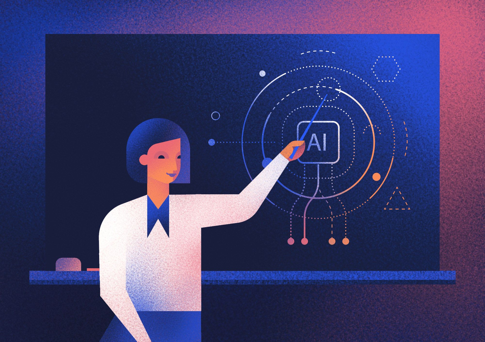 Transparent collaboration is one of the key factors building trust between Artificial Intelligence and doctors. Illustration by Aga Więckowska.