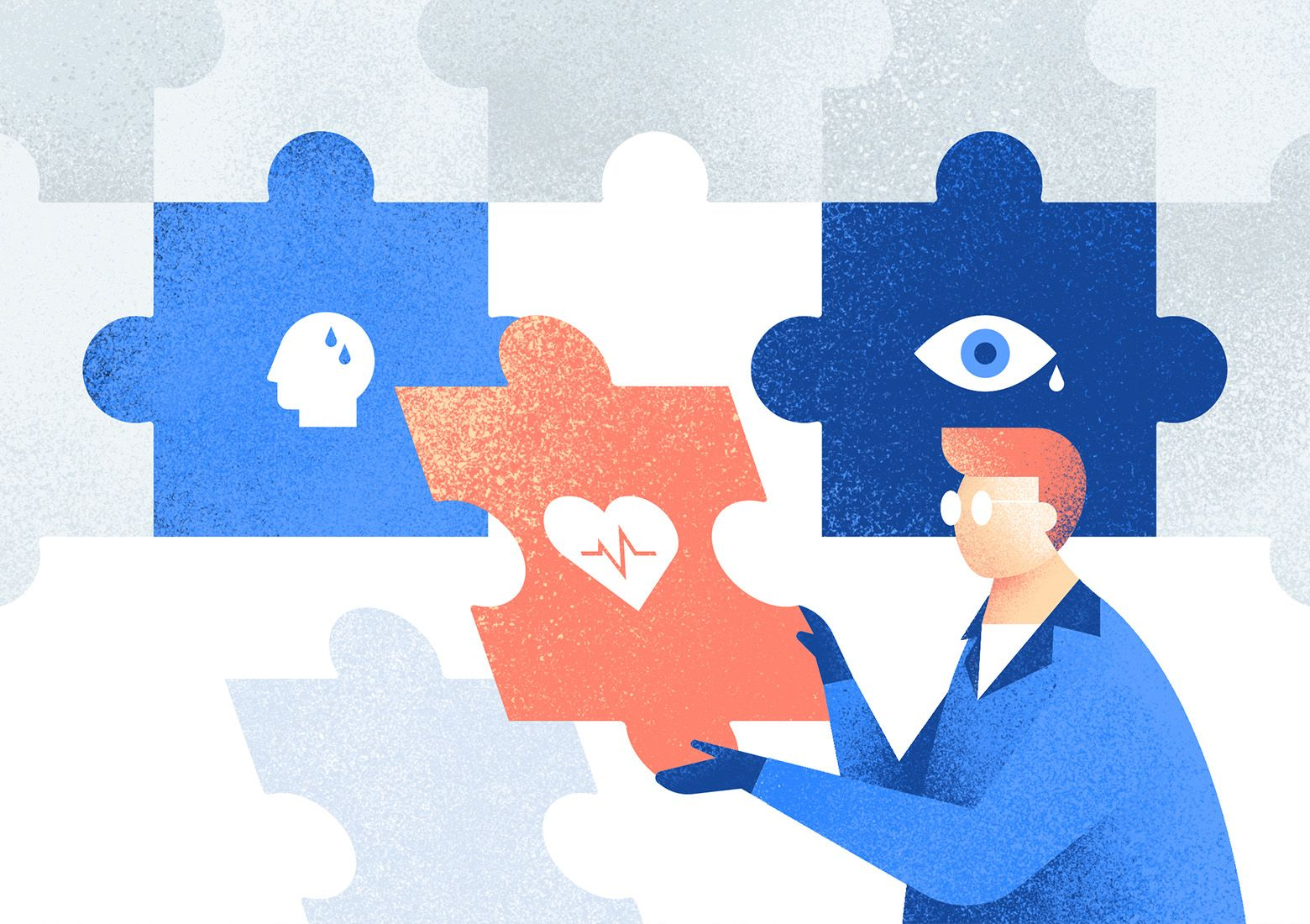 Initial symptoms are like puzzles to the whole diagnosis picture. Illustration by Aga Więckowska.