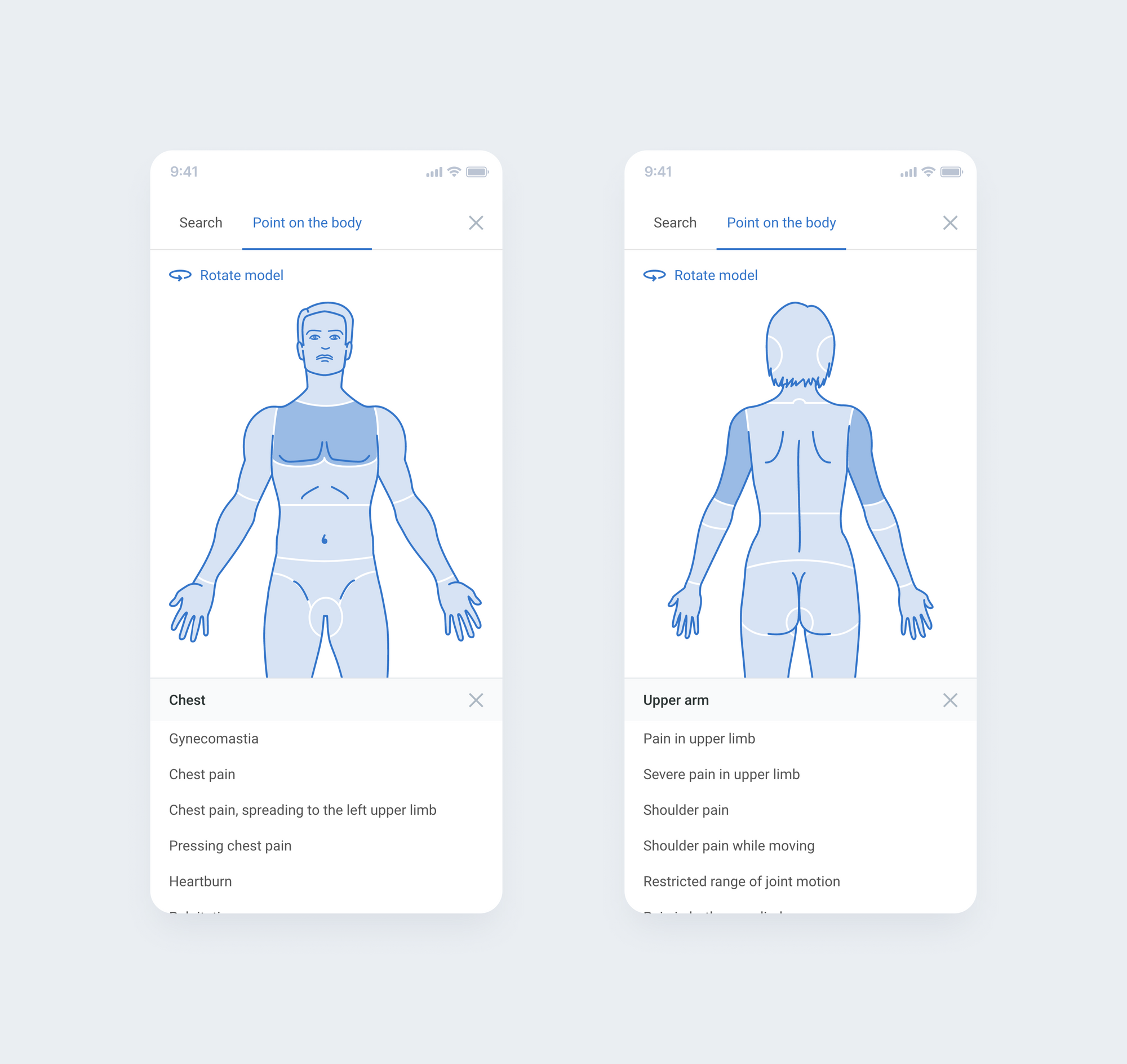 Example: A list of symptoms should be attached to the front and back of the body.