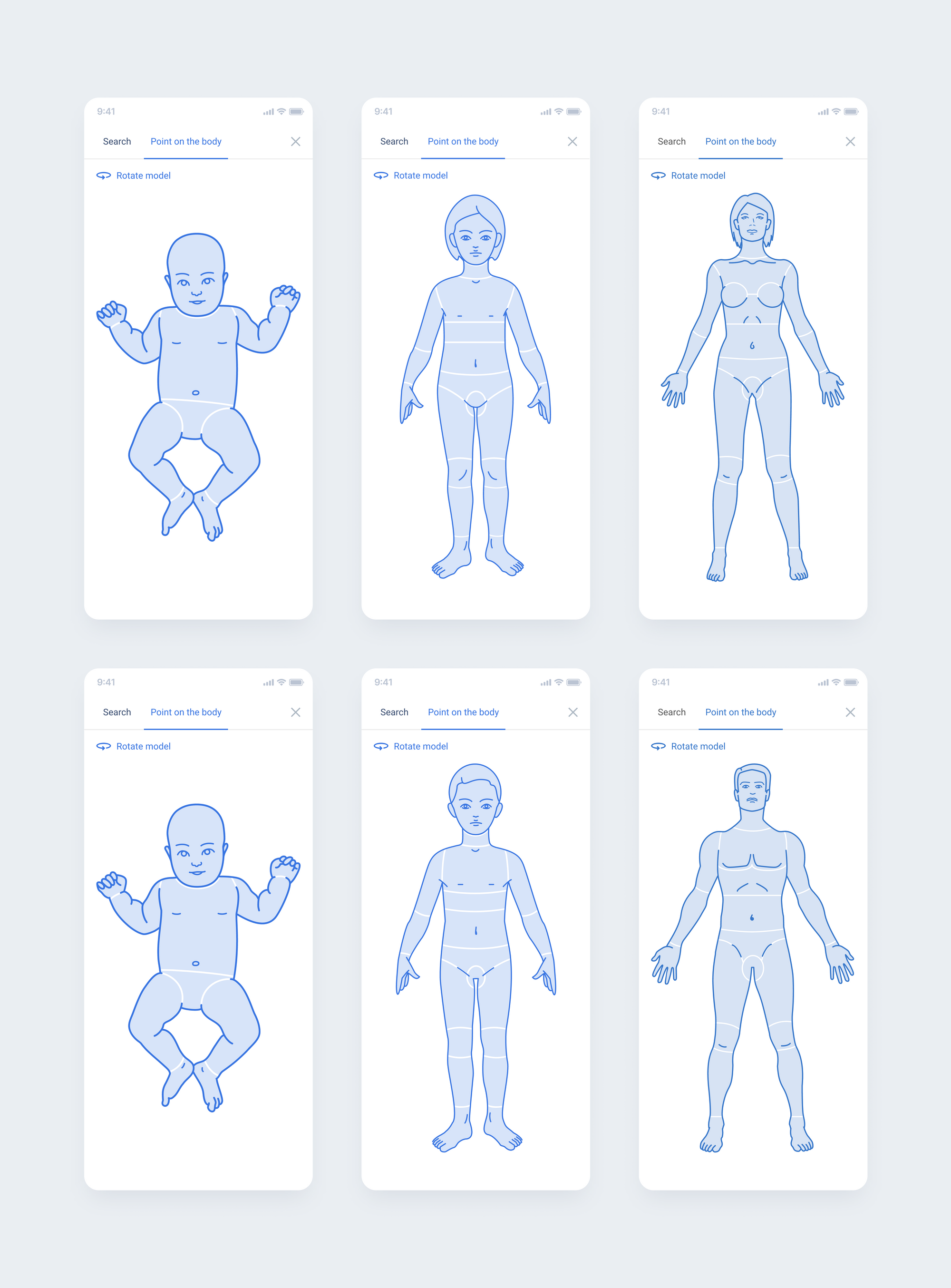 Example: Presentation of body avatars for males in different age groups.
