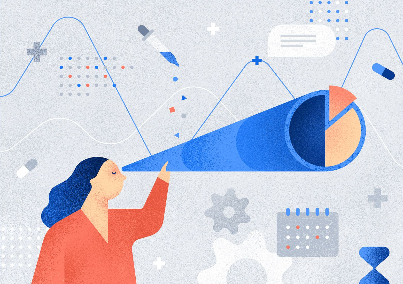 Observing healthcare KPIs will make it easier for you to track your project's goals and progress. Illustration by Aga Więckowska.